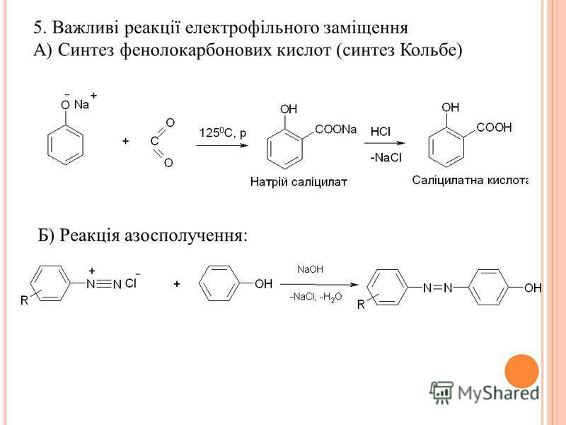 5. Важливі реакції електрофільного заміщення А) Синтез фенолокарбонових кислот (синтез Кольбе) Б) Реакція азосполучення:
