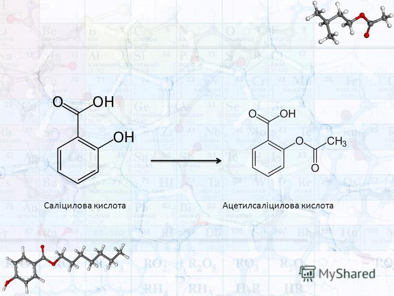Саліцилова кислотаАцетилсаліцилова кислота