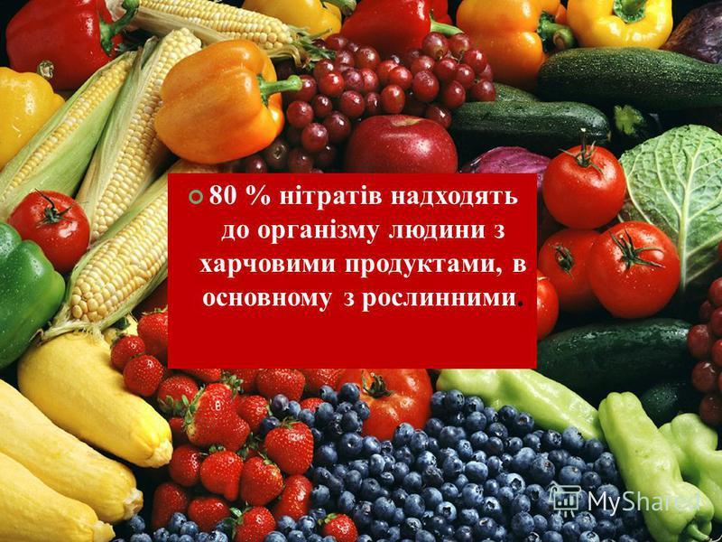 80 % нітратів надходять до організму людини з харчовими продуктами, в основному з рослинними.