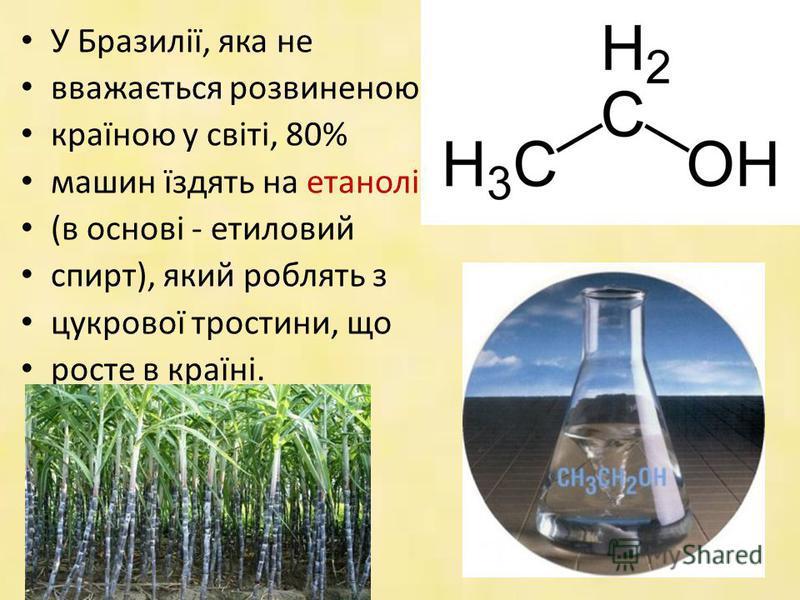 У Бразилії, яка не вважається розвиненою країною у світі, 80% машин їздять на етанолі (в основі - етиловий спирт), який роблять з цукрової тростини, що росте в країні.
