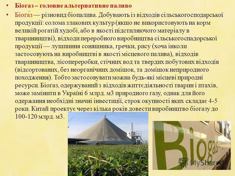 Біогаз – головне альтернативне паливо Біога́з різновид біопалива. Добувають із відходів сільськогосподарської продукції: солома злакових культур (якщо не використовують на корм великій рогатій худобі, або в якості підстиляючого матеріалу в тваринницт