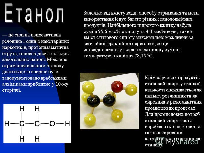 це сильна психоактивна речовина і один з найстаріших наркотиків, протоплазматична отрута; головна діюча складова алкогольних напоїв. Можливе отримання вільного етанолу дистиляцією вперше було задокументовано арабськими алхіміками приблизно у 10-му ст
