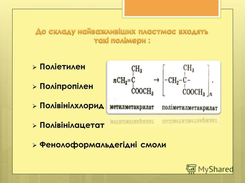 Поліетилен Поліпропілен Полівінілхлорид Полівінілацетат Фенолоформальдегідні смоли