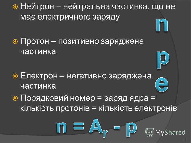 Нейтрон – нейтральна частинка, що не має електричного заряду Протон – позитивно заряджена частинка Електрон – негативно заряджена частинка Порядковий номер = заряд ядра = кількість протонів = кількість електронів 6