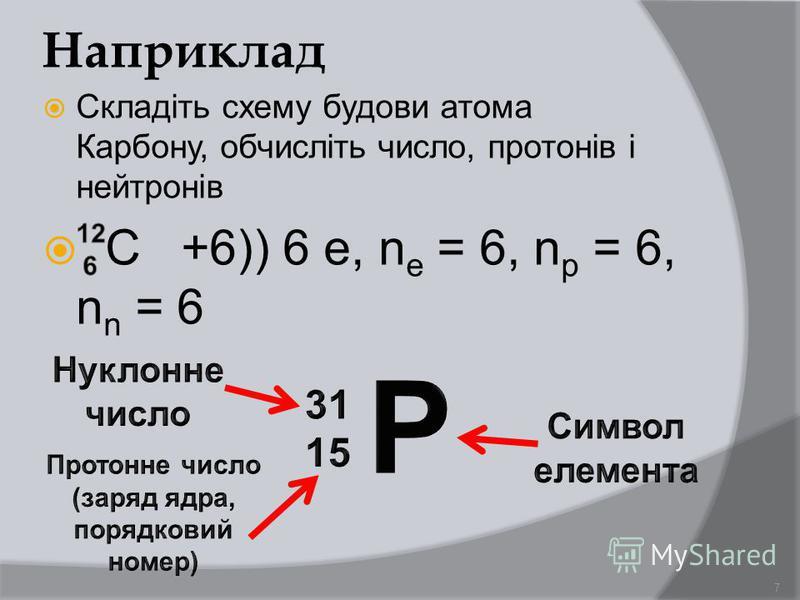 Наприклад Складіть схему будови атома Карбону, обчисліть число, протонів і нейтронів С +6)) 6 е, n e = 6, n p = 6, n n = 6 7