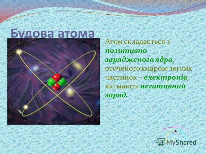 Будова атома Атом складається з позитивно зарядженого ядра, оточеного хмарою легких частинок – електронів, які мають негативний заряд.