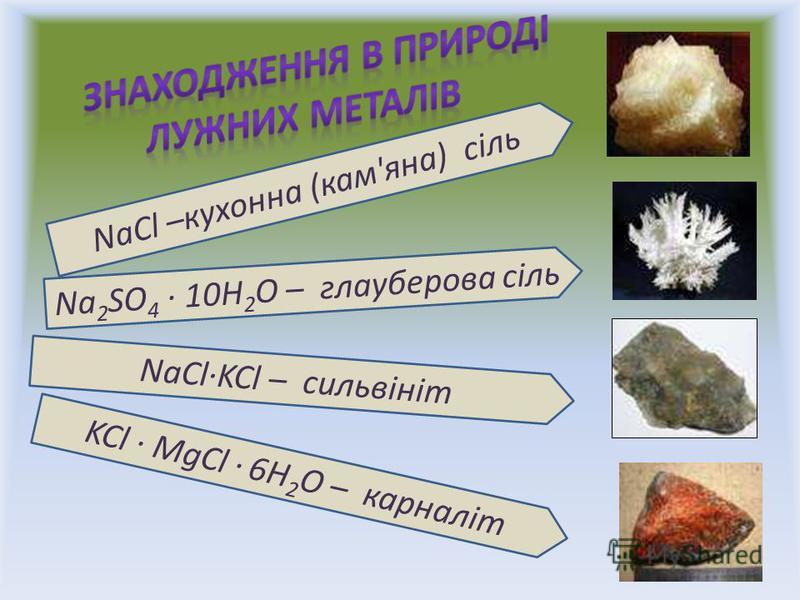 NaCl –кухонна (кам'яна) сіль Na 2 SO 4 · 10H 2 O – глауберова сіль NaCl·KCl – сильвініт KCl · MgCl · 6H 2 O – карналіт