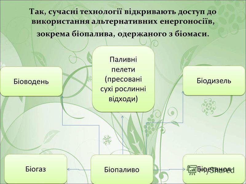 Так, сучасні технології відкривають доступ до використання альтернативних енергоносіїв, зокрема біопалива, одержаного з біомаси. Біоводень Біогаз Біопаливо Паливні пелети (пресовані сухі рослинні відходи) Паливні пелети (пресовані сухі рослинні відхо