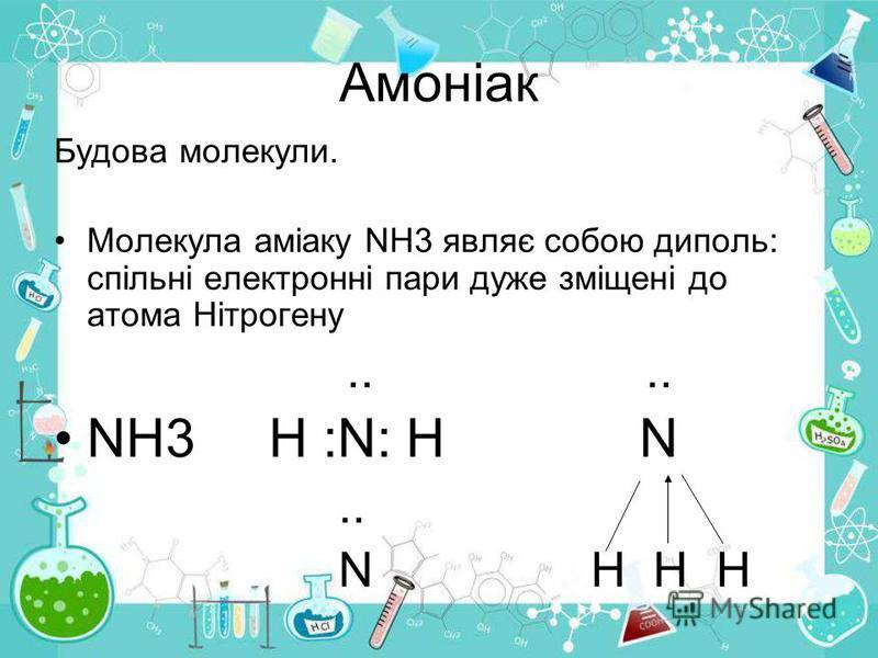 Будова молекули. Молекула аміаку NH3 являє собою диполь: спільні електронні пари дуже зміщені до атома Нітрогену.... NH3 H :N: H N.. N H H H