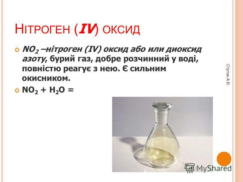Н ІТРОГЕН ( IV ) ОКСИД NO 2 –нітроген (IV) оксид або или диоксид азоту, бурий газ, добре розчинний у воді, повністю реагує з нею. Є сильним окисником. NO 2 + H 2 O = Ступак А.В.