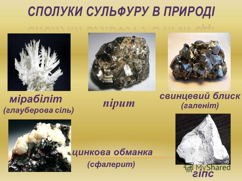 мірабіліт (глауберова сіль) пірит свинцевий блиск цинкова обманка (галеніт) гіпс (сфалерит)