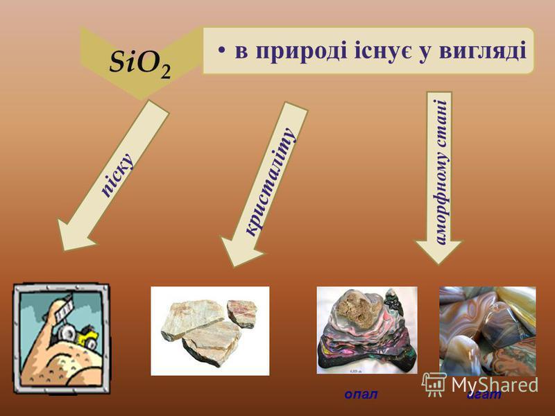 SiO2 в природі існує у вигляді піску опалагат