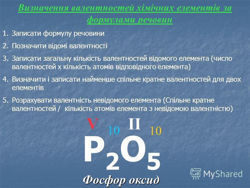 Фосфор оксид Визначення валентностей хімічних елементів за формулами речовин 1.Записати формулу речовини 2.Позначити відомі валентності 3.Записати загальну кількість валентностей відомого елемента (число валентностей х кількість атомів відповідного е