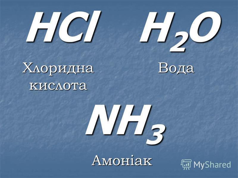 H 2 O Вода NH 3 Амоніак HСl Хлоридна кислота