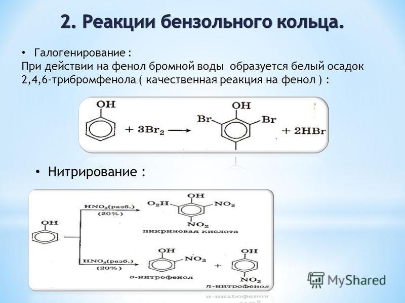 Галогенирование : При действии на фенол бромной воды образуется белый осадок 2,4,6-трибромфенола ( качественная реакция на фенол ) : Нитрирование :