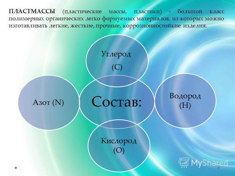 ПЛАСТМАССЫ (пластические массы, пластики) - большой класс полимерных органических легко формуемых материалов, из которых можно изготавливать легкие, жесткие, прочные, коррозионностойкие изделия. Состав: Углерод (C) Водород (Н) Кислород (О) Азот (N)
