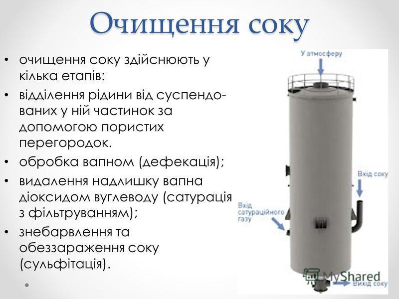 Очищення соку очищення соку здійснюють у кілька етапів: відділення рідини від суспендо ваних у ній частинок за допомогою пористих перегородок. обробка вапном (дефекація); видалення надлишку вапна діоксидом вуглеводу (сатурація з фільтруванням); знеб