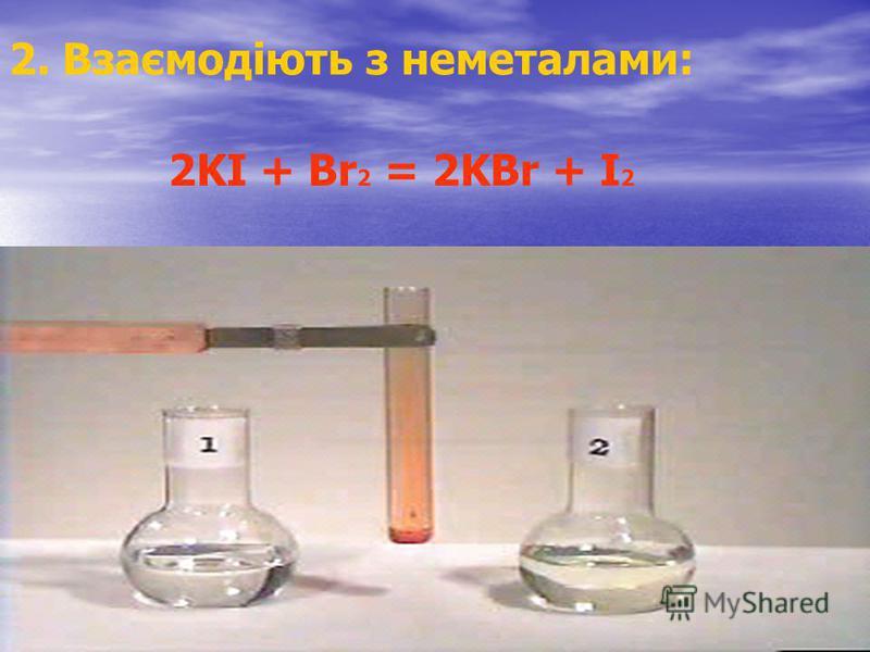 2. Взаємодіють з неметалами: 2KI + Br 2 = 2KBr + I 2