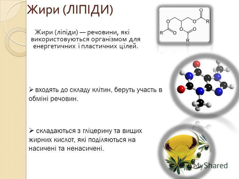 Жири ( ЛІПІДИ ) Жири ( ЛІПІДИ ) Жири ( ліпіди ) речовини, які використовуються організмом для енергетичних і пластичних цілей. входять до складу клітин, беруть участь в обміні речовин. складаються з гліцерину та вищих жирних кислот, які поділяються н