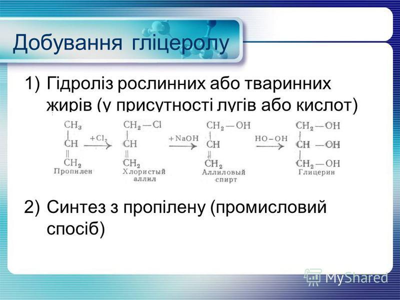 Добування гліцеролу 1)Гідроліз рослинних або тваринних жирів (у присутності лугів або кислот) 2)Синтез з пропілену (промисловий спосіб)