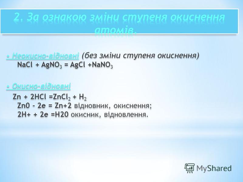 Неокисно-відновні (без зміни ступеня окиснення) NaCl + AgNO 3 = AgCl +NaNO 3 Окисно-відновні Zn + 2HCl =ZnCl 2 + H 2 Zn0 - 2е = Zn+2 відновник, окиснення; 2H+ + 2е =H20 окисник, відновлення. Неокисно-відновні (без зміни ступеня окиснення) NaCl + AgNO