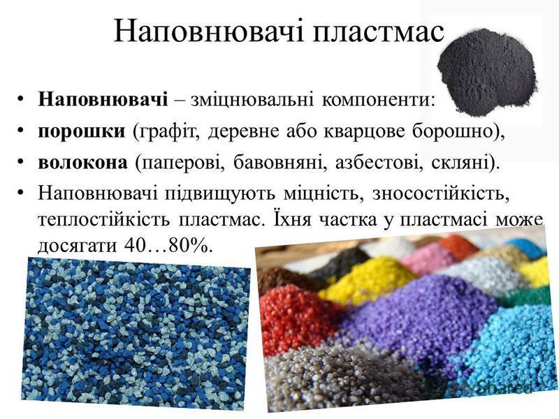 Наповнювачі пластмас Наповнювачі – зміцнювальні компоненти: порошки (графіт, деревне або кварцове борошно), волокона (паперові, бавовняні, азбестові, скляні). Наповнювачі підвищують міцність, зносостійкість, теплостійкість пластмас. Їхня частка у пла