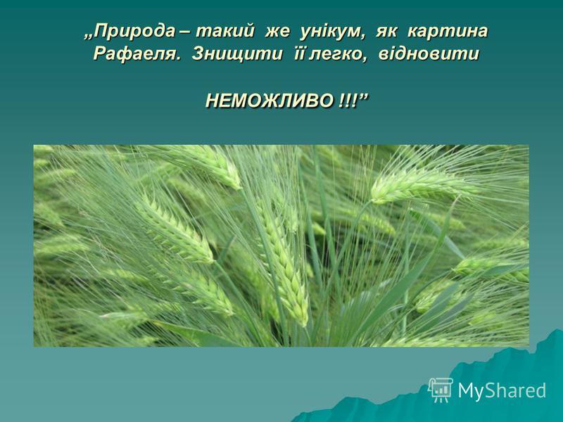 Природа – такий же унікум, як картина Рафаеля. Знищити її легко, відновити НЕМОЖЛИВО !!!