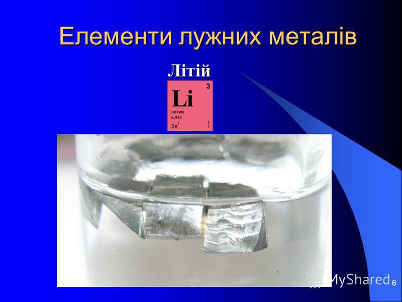 6 Елементи лужних металів Літій