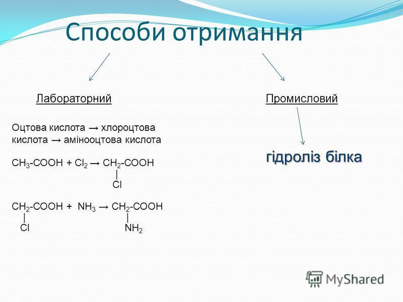 Способи отримання ЛабораторнийПромисловий Оцтова кислота хлороцтова кислота амінооцтова кислота СН 3 -СООН + Сl 2 СН 2 -СООН | Cl СН 2 -СООН + NH 3 СН 2 -СООН | Сl NH 2 гідроліз білка