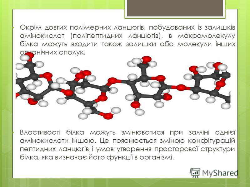 Окрім довгих полімерних ланцюгів, побудованих із залишків амінокислот (поліпептидних ланцюгів), в макромолекулу білка можуть входити також залишки або молекули інших органічних сполук. Властивості білка можуть змінюватися при заміні однієї амінокисло