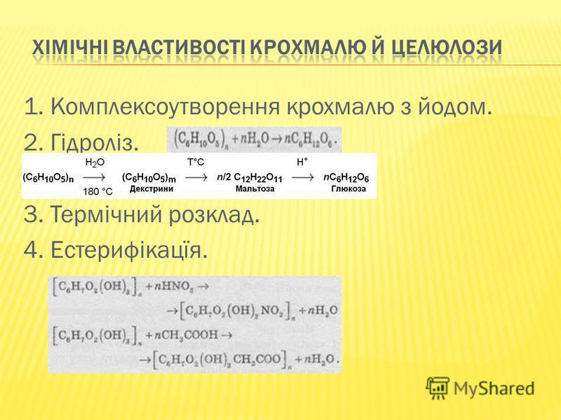 1. Комплексоутворення крохмалю з йодом. 2. Гідроліз. 3. Термічний розклад. 4. Естерифікацїя.