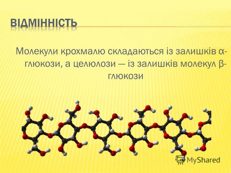 Молекули крохмалю складаються із залишків α- глюкози, а целюлози із залишків молекул β- глюкози