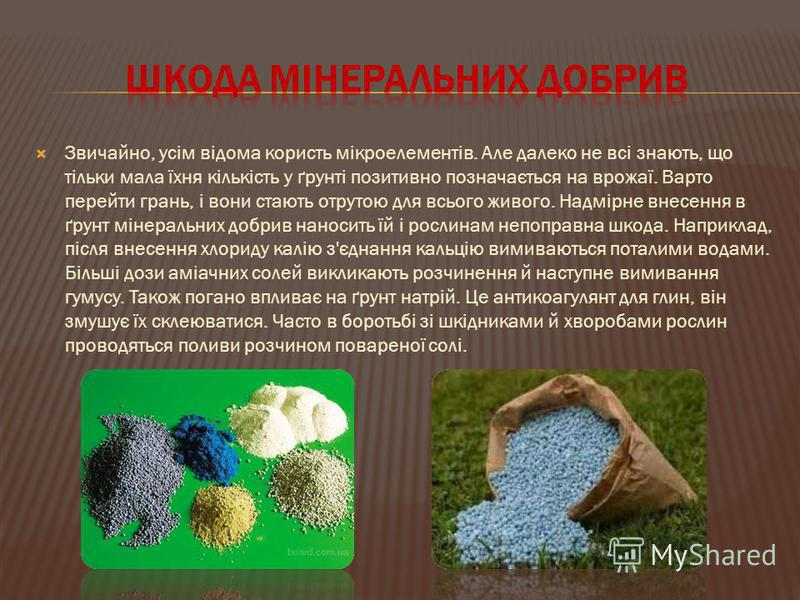 Звичайно, усім відома користь мікроелементів. Але далеко не всі знають, що тільки мала їхня кількість у ґрунті позитивно позначається на врожаї. Варто перейти грань, і вони стають отрутою для всього живого. Надмірне внесення в ґрунт мінеральних добри