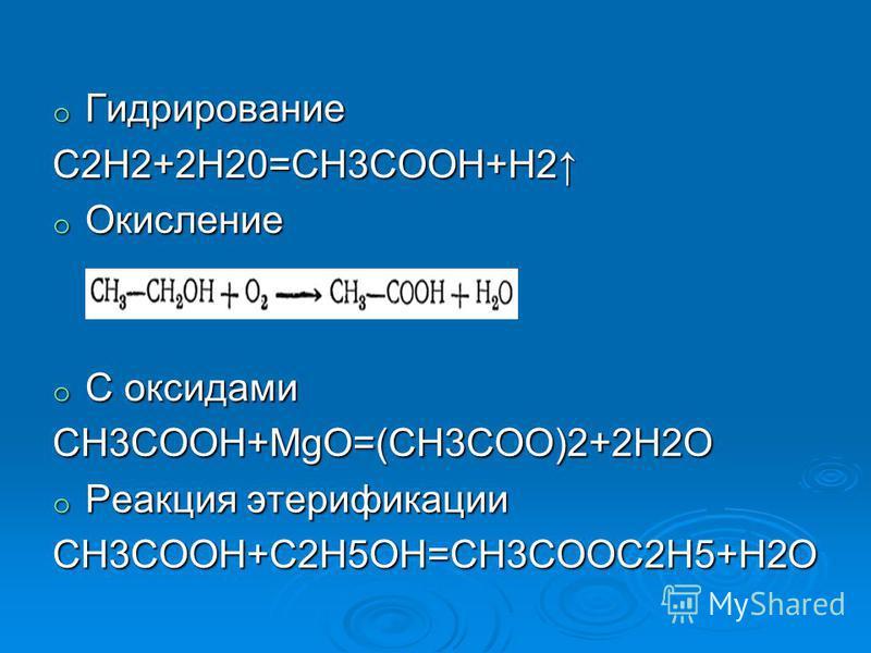 o Гидрирование С2H2+2H20=CH3COOH+H2 o Окисление o С оксидами CH3COOH+MgO=(CH3COO)2+2H2O o Реакция этерификации CH3COOH+C2H5OH=CH3COOC2H5+H2O