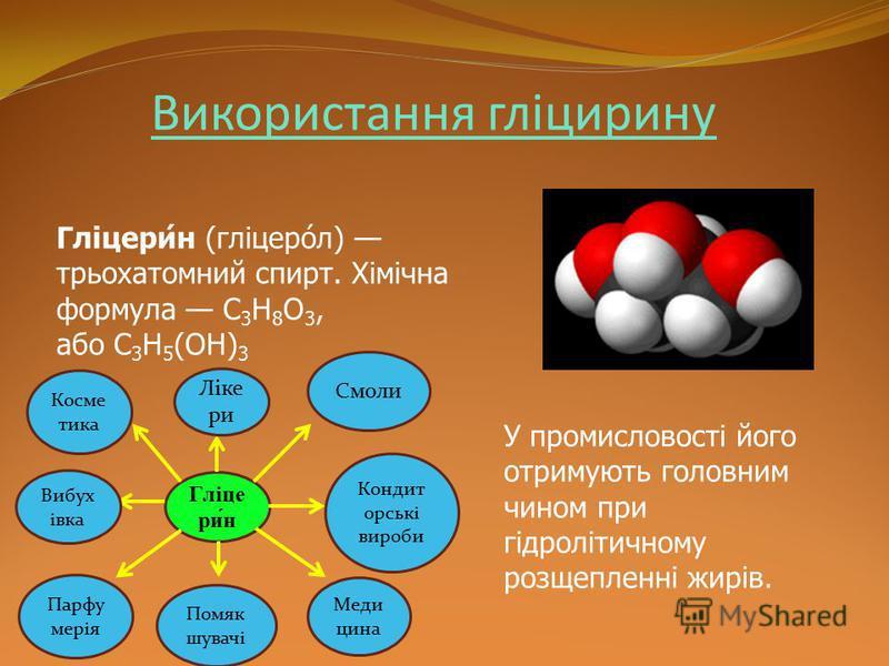 Використання гліцирину Гліцери́н (гліцеро́л) трьохатомний спирт. Хімічна формула C 3 H 8 O 3, або C 3 H 5 (OH) 3 У промисловості його отримують головним чином при гідролітичному розщепленні жирів. Гліце ри́н Помяк шувачі Ліке ри Меди цина Смоли Конди