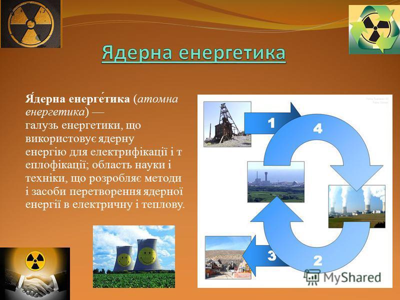 Я́дерна енерге́тика (атомна енергетика) галузь енергетики, що використовує ядерну енергію для електрифікації і т еплофікації; область науки і техніки, що розробляє методи і засоби перетворення ядерної енергії в електричну і теплову.