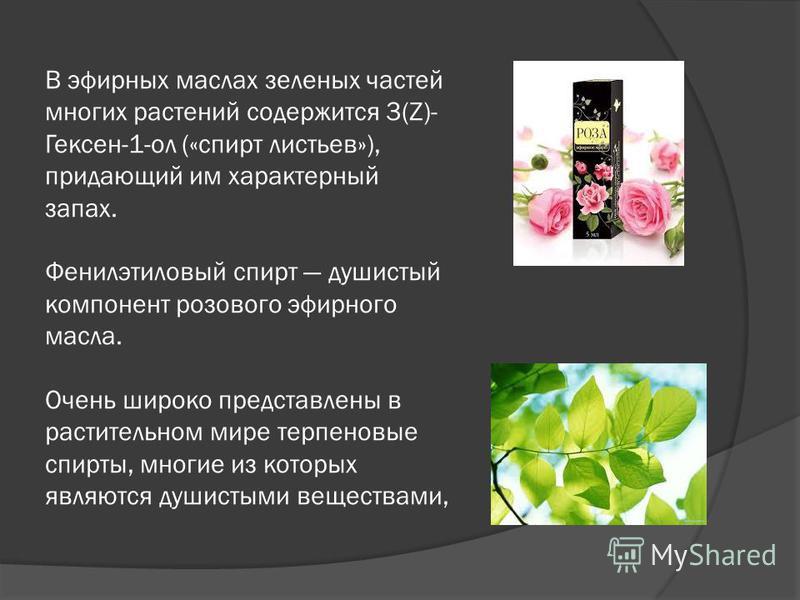 В эфирных маслах зеленых частей многих растений содержится 3(Z)- Гексен-1-ол («спирт листьев»), придающий им характерный запах. Фенилэтилновый спирт душистый компонент розового эфирного масла. Очень широко представлены в растительном мире терпеновые