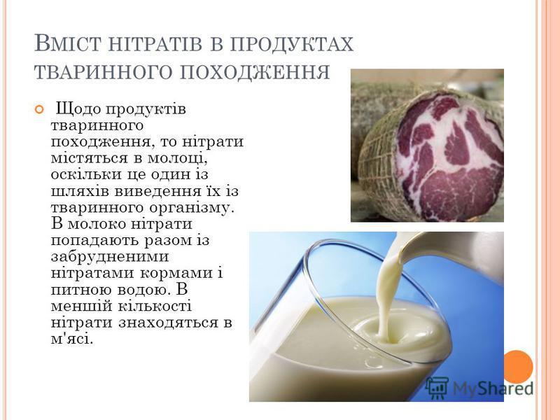 В МІСТ НІТРАТІВ В ПРОДУКТАХ ТВАРИННОГО ПОХОДЖЕННЯ Щодо продуктів тваринного походження, то нітрати містяться в молоці, оскільки це один із шляхів виведення їх із тваринного організму. В молоко нітрати попадають разом із забрудненими нітратами кормами