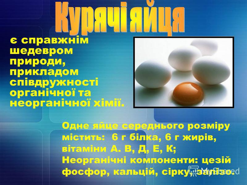 є справжнім шедевром природи, прикладом співдружності органічної та неорганічної хімії. Одне яйце середнього розміру містить: 6 г білка, 6 г жирів, вітаміни А. В, Д, Е, К; Неорганічні компоненти: цезій фосфор, кальцій, сірку, залізо.