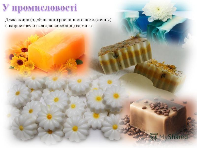 Деякі жири (здебільшого рослинного походження) використовуються для виробництва мила.