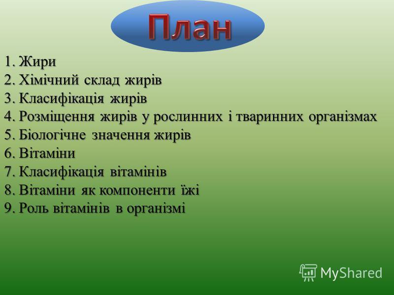1.Жири 2.Хімічний склад жирів 3.Класифікація жирів 4.Розміщення жирів у рослинних і тваринних організмах 5.Біологічне значення жирів 6.Вітаміни 7.Класифікація вітамінів 8.Вітаміни як компоненти їжі 9.Роль вітамінів в організмі