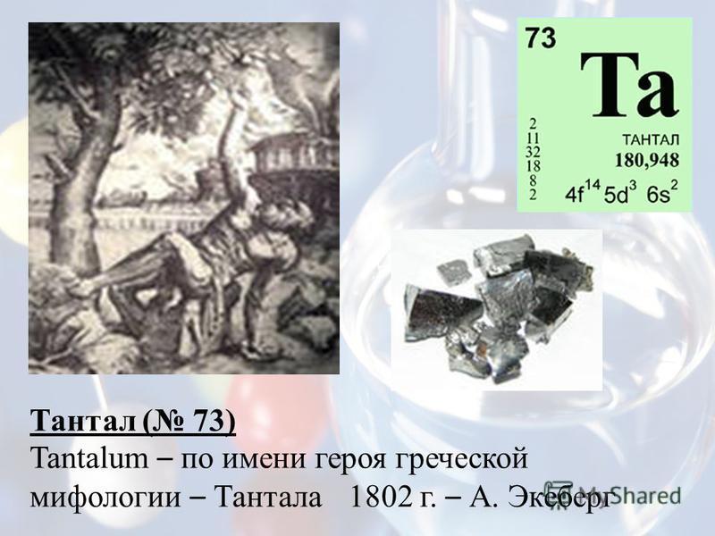 Тантал ( 73) Tantalum – по имени героя греческой мифологии – Тантала 1802 г. – А. Экеберг