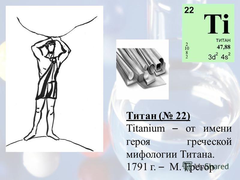 Титан ( 22) Titanium – от имени героя греческой мифологии Титана. 1791 г. – М. Грегор