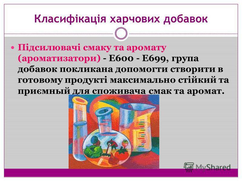 Класифікація харчових добавок Підсилювачі смаку та аромату (ароматизатори) - Е600 - Е699, група добавок покликана допомогти створити в готовому продукті максимально стійкий та приємный для споживача смак та аромат.