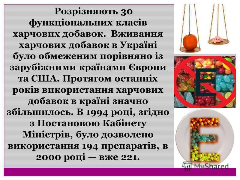 Розрізняють 30 функціональних класів харчових добавок. Вживання харчових добавок в Україні було обмеженим порівняно із зарубіжними країнами Європи та США. Протягом останніх років використання харчових добавок в країні значно збільшилось. В 1994 році,