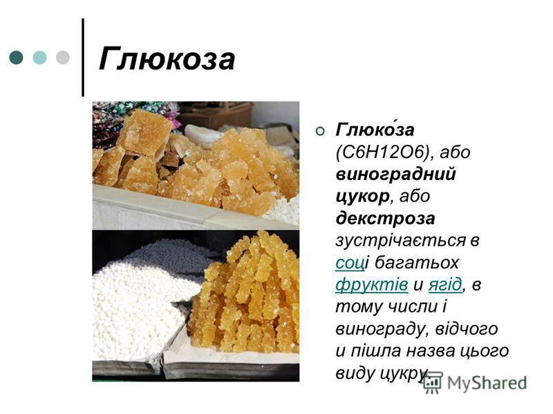 Глюкоза Глюко́за (C6H12O6), або виноградний цукор, або декстроза зустрічається в соці багатьох фруктів и ягід, в тому числи і винограду, відчого и пішла назва цього виду цукру. соц фруктівягід