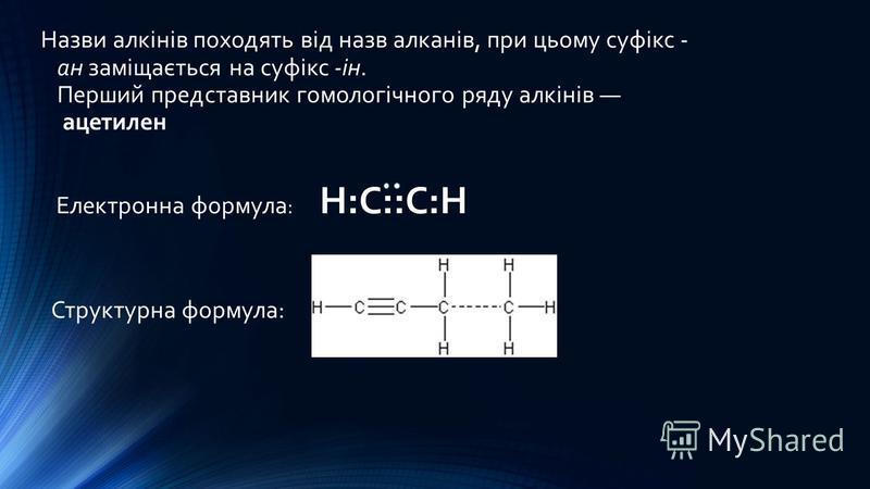 Назви алкінів походять від назв алканів, при цьому суфікс - ан заміщається на суфікс -ін. Перший представник гомологічного ряду алкінів ацетилен Електронна формула : Н:С::С:Н Структурна формула: