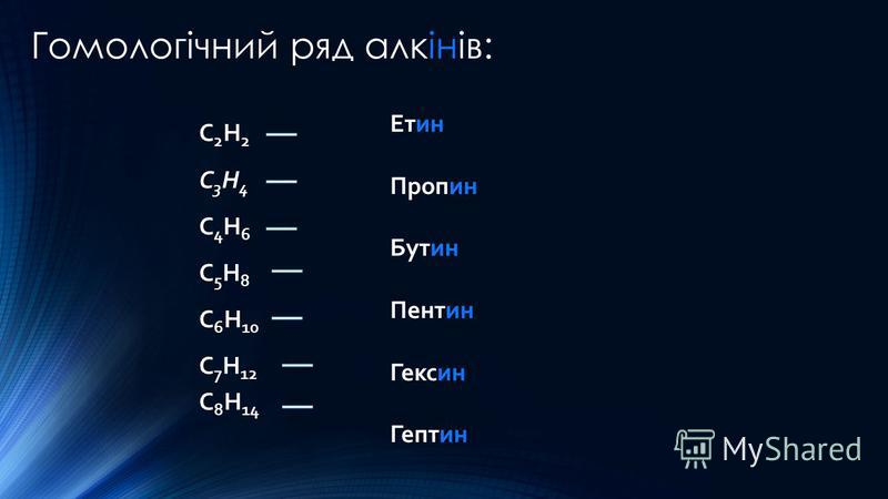 Гомологічний ряд алкінів: C 2 H 2 C 3 H 4 C 4 H 6 C 5 H 8 C 6 H 10 C 7 H 12 C 8 H 14 Етин Пропин Бутин Пентин Гексин Гептин