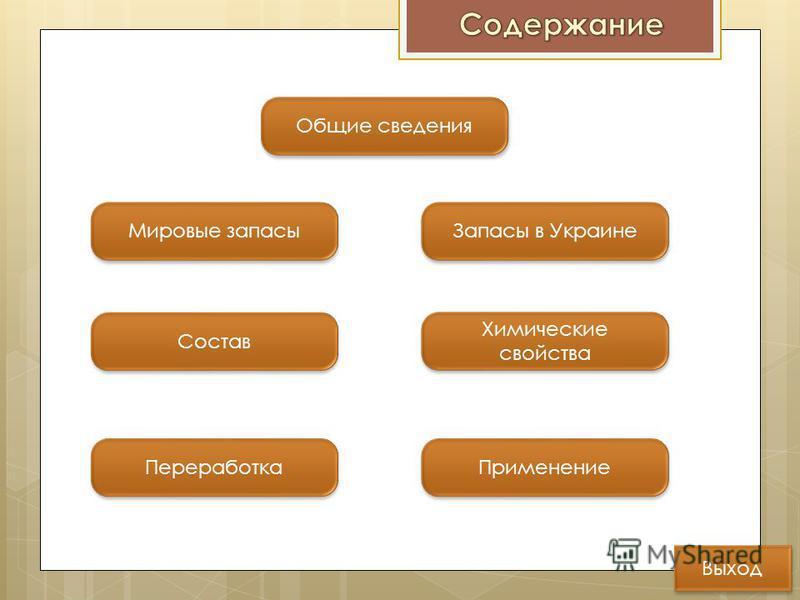 Общие сведения Состав Переработка Применение Мировые запасы Запасы в Украине Химические свойства Химические свойства Выход