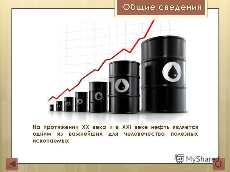 На протяжении XX века и в XXI веке нефть является одним из важнейших для человечества полезных ископаемых